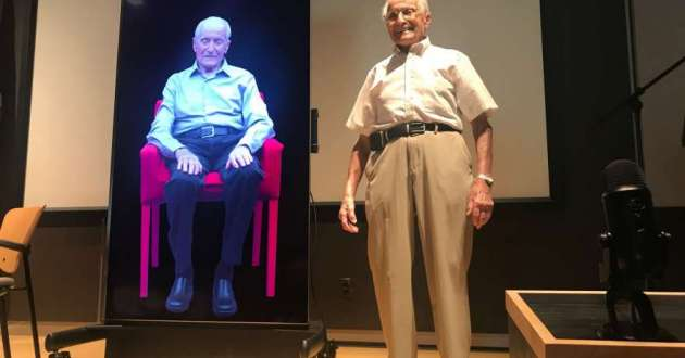 Holocaust survivor Stanley Bernath with his hologram.