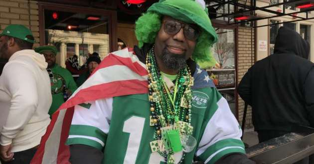 D'Antonio Knuckles gets his Irish on at a bar on W. 6th St., Cleveland on St. Patrick's Day, March 17, 2019.