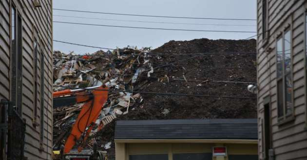 A pile of debris as seen from Noble Road in East Cleveland in 2017.