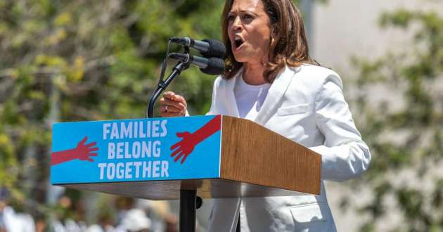 Democrat Sen. Kamala Harris of California will speak at the Cuyahoga County Democratic Party this weekend after labor leaders called off a picket of the event. Here she speaks at rally in Los Angeles in June 2018.