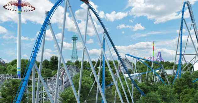"""A digital rendering shows """"Orion,"""" which will become the world's seventh giga coaster when it opens in Spring 2020."""