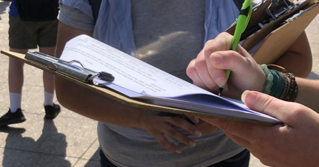 Petitioner gathering signatures for HB6 referendum in the summer of 2019.