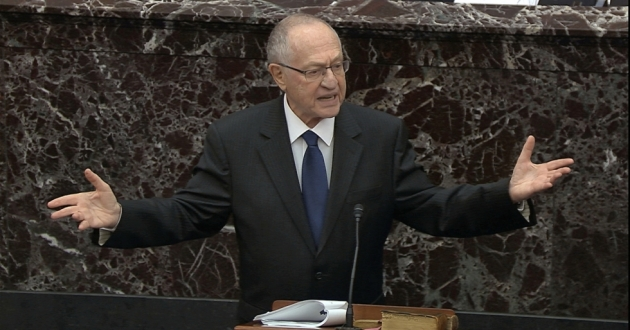 Alan Dershowitz, an attorney for President Trump, speaks during the impeachment trial against Trump in the Senate on Monday.