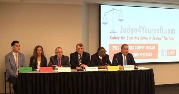 Judge4Yourself panel of five lawyers representing the five groups that make up the coalition.