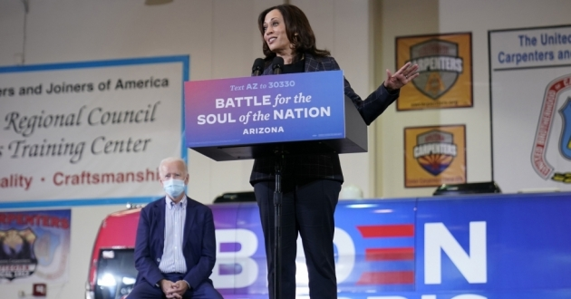 Democratic vice presidential candidate Sen. Kamala Harris (D-Calif.) speaks at Carpenters Local Union 1912 in Phoenix, Thursday, Oct. 8, 2020.