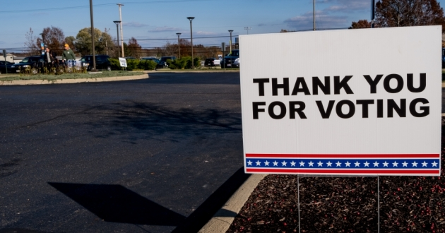 "A sign that reads ""Thank you for voting."""