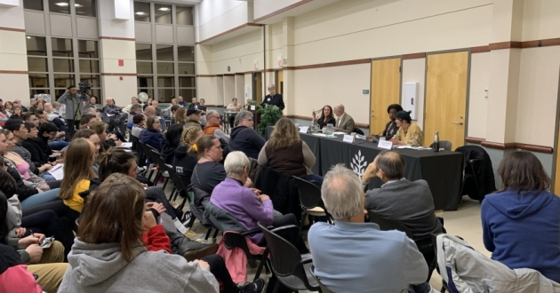 Community members debated a levy for the Cleveland Heights-University Heights schools.