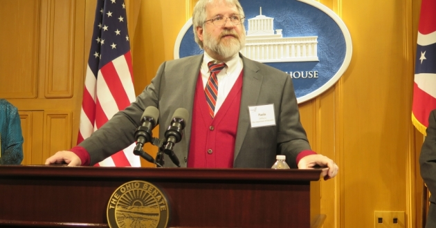 State schools superintendent Paolo DeMaria speaks at a press conference in 2018. [Karen Kasler]