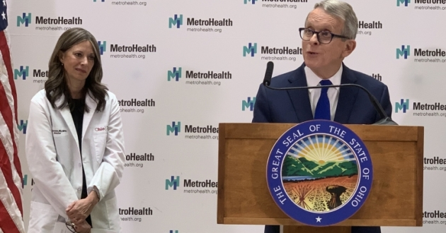Ohio Department of Health Director Dr. Amy Acton and Gov. Mike DeWine outline the state's plan to combat a potential coronavirus outbreak at a press conference at MetroHealth Medical Center Thursday.
