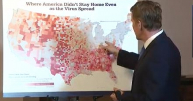 Lt. Gov. Jon Husted points to a map published in the New York Times that shows areas of the country that have heeded stay at home orders and have not traveled.