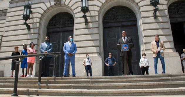 Cleveland City Council members hail the passage of legislation declaring racism a public health crisis at a June news conference.. [Nick Castele]