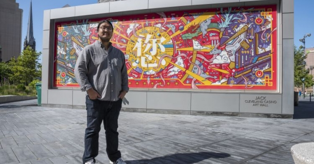 """Jordan Wong's mural """"Triumph of Heaven, Earth, and the Cosmos"""" debuted on Public Square and will be moved to Asia Plaza."""