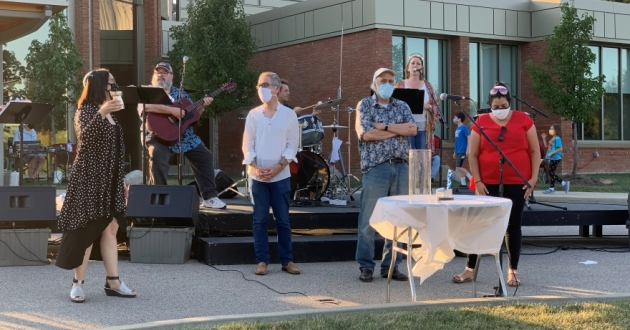 Rabbi Jonathan Cohen with clergy and the Rock My Soul band at a picnic in the Temple-Tifereth Israel parking lot on Aug. 16, 2020.