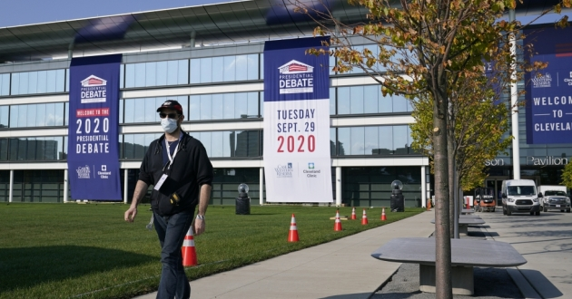 Preparations take place on Sunday outside the Sheila and Eric Samson Pavilion in Cleveland ahead of the first presidential debate, scheduled for Tuesday.