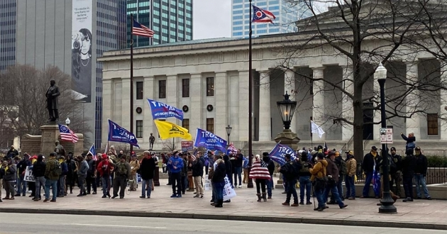 Supporters of President Donald Trump gathered in front of the Ohio Statehouse on January 6 shortly before the insurrection at the U.S. Capitol.