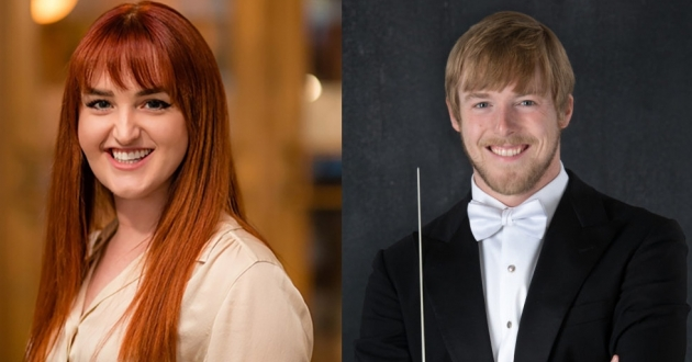 Canton Symphony Orchestra podcast hosts education manager Rachel Hagemeier and assistant conductor Matthew Jenkins Jaroszewicz