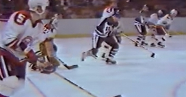 Cleveland hasn't had an NHL team since the Barons left town in 1978. Here, the Barons' Mike Crombeen (foreground) battles the visiting Pittsburgh Penguins at Richfield Coliseum on October 23, 1977. The Barons would fall 3-2 as part of a dismal 22-45-13 season.