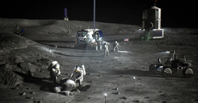An artist's rendition of the planned Artemis moon base. NASA Glenn engineers designed a wifi network for Artemis that served as the inspiration for bringing broadband to the streets of Cleveland. [ NASA]
