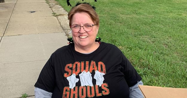 """Odetta Fields, who helped found the """"Garden of Life"""" in Slavic Village, volunteered Saturday, Oct. 23, at the Fleet Trick or Treat event in her neighborhood, which she helps organize. [Rachel Dissell]"""