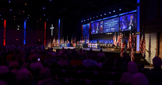A crowd of around 1,000 people gather at Genoa Baptist Church in Westerville, Ohio, to hear the GOP candidates for the U.S. Senate state their cases. [Daniel Konik / Statehouse News Bureau]