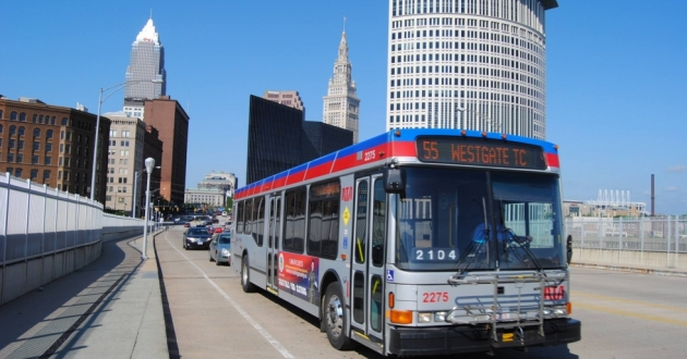 An RTA bus crosses the Detroit-Superior Bridge in Downtown Cleveland in 2013.