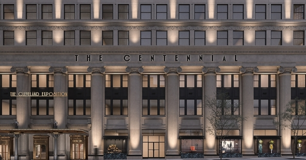 A rendering of the proposed redevelopment of the Centennial building on Euclid Avenue.