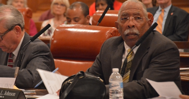 Ken Johnson at a Cleveland City Council meeting in 2017. [Nick Castele / ideastream]