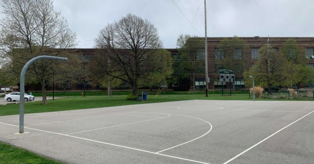 The basketball hoops at Madison Park have been removed as police continue investigating two shootings at the park. Lakewood Police Chief Kevin Kaucheck said they could go back up within a week but he would not commit to a date.. [Taylor Haggerty / ideastream]