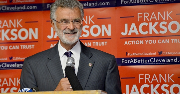 Cleveland Mayor Frank Jackson celebrates a first-place finish in the 2017 primary. Jackson announced Thursday that he will not seek a fifth term in office. [Nick Castele / ideastream]