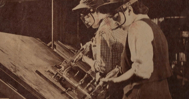 Two women workers at BF Goodrich in archive photo