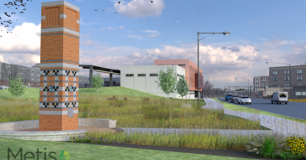 A rendering of the proposed chimney swift tower on Haymaker Parkway [ Metis Construction Services]