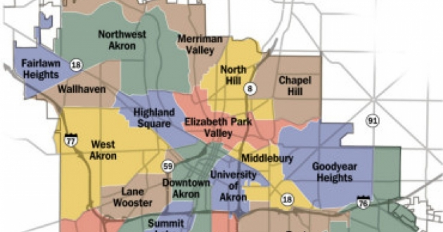 Sections in four of Akron's 22 neighborhoods will be targeted by 'Planning to Grow Phase 2.0': the middle thirds of both Goodyear Heights and North Hill, plus the northeast corner of Kenmore, and the area south of Schneider Park in West Akron. [ City of Akron]