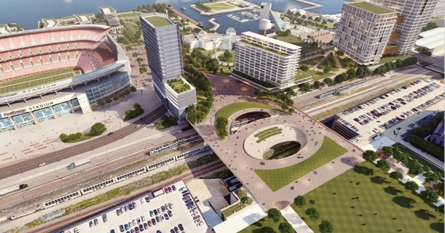 A new plan for the Downtown lakefront calls for a pedestrian greenway linking Mall C with the harbor. [Cleveland Browns]