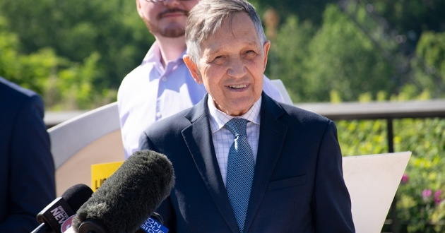 Dennis Kucinich is seeking a second chance to lead Cleveland, launching his mayoral campaign Monday in Tremont. [Nick Castele / ideastream]