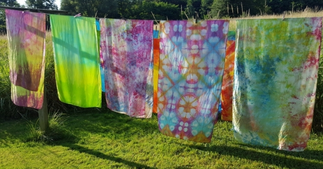 Hand dyed clothing from Chalk Monkey Dyeworks at the Akron Arts Expo. [Akron Arts Expo]