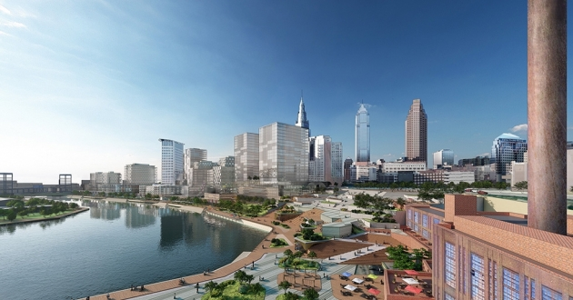 A rendering of proposed development along the Cuyahoga River. [Bedrock]