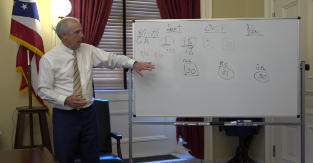 Senate President Matt Huffman (R-Lima) gestures to a whiteboard while explaining his plan to ask voters to delay the deadlines for new maps. Those deadlines were put in place by constitutional amendments that also made changes in the map-drawing process and required more transparency and minority party buy-in. Huffman's plan was rejected and never went to the ballot. [Dan Konik / Statehouse News Bureau]