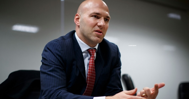 In this Nov. 29, 2018 photo, Rep. Anthony Gonzalez, R-Ohio, speaks during an interview with the Associated Press at the National Republican Congressional Committee offices in Washington. Gonzalez was one of 43 Latinos elected to Congress that year. [Carolyn Kaster / AP]