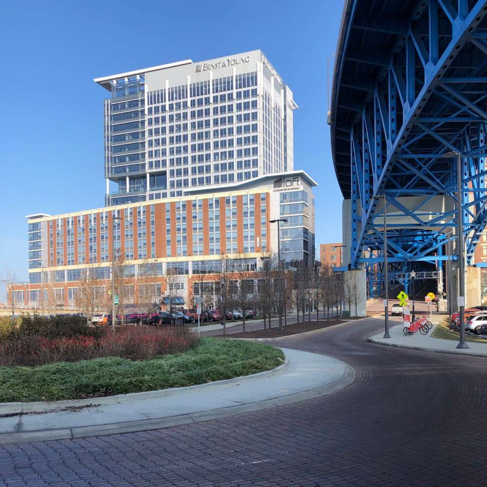 The Ernst & Young tower, finished in 2013, was one of the first projects built in the Flats East Bank redevelopment project. [George Hahn / ideastream]