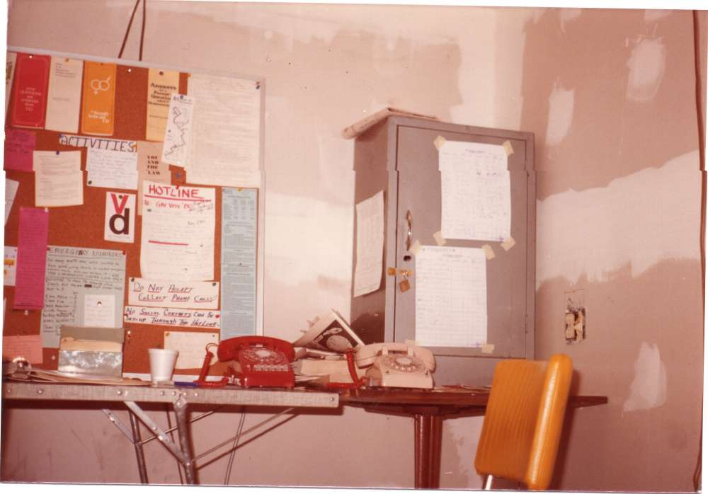 The Gay Hotline was established in 1976 to provide the LGBTQ community with counseling options, HIV/AIDS-related resources, referrals and general information.  This is the Gay Hotline room in 1980 at the Community Center, at W. 14th St. and Auburn Ave. [Brian DeWitt]