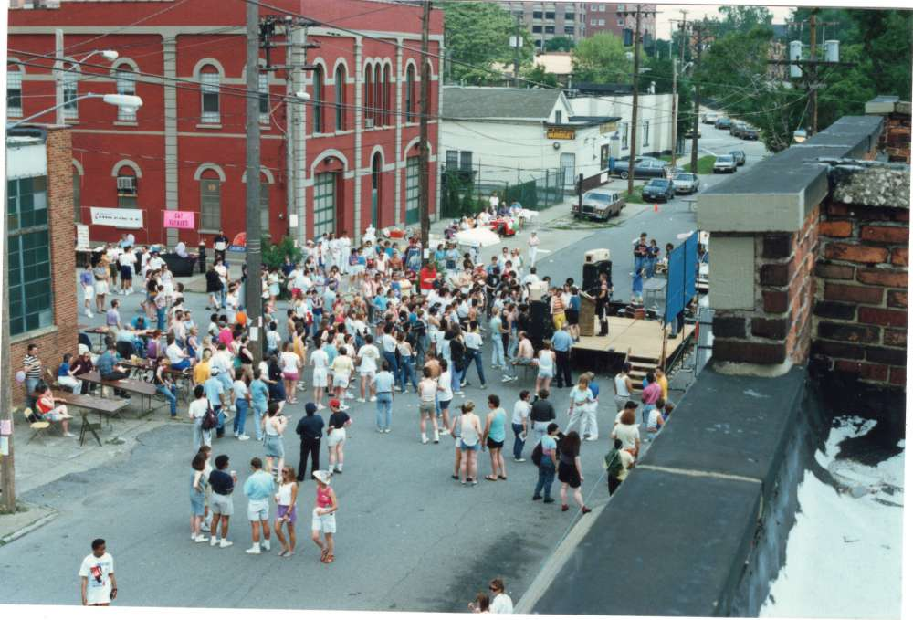 """Pride 89: An Out of the Closet Experience"" was held outside the Lesbian/Gay Community Service Center on W. 29th St. in Ohio City on June 18, 1989. [Brian DeWitt]"
