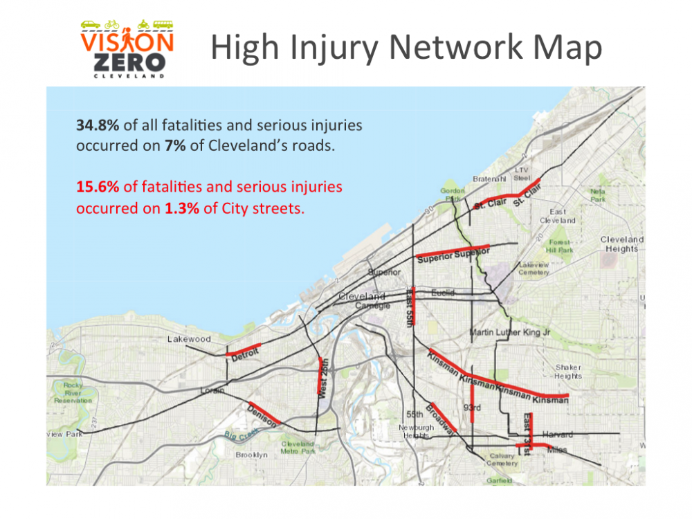 A map showing Cleveland's most dangerous streets, from the city's Vision Zero initiative to reduce pedestrian fatalities. [Vision Zero]