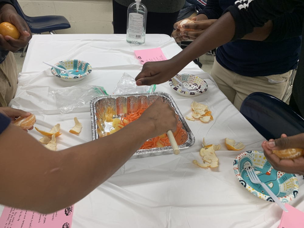 Students in Mrs. Simpson's fifth grade class at Marion Sterling Elementary make a healthy Waldorf salad in class.