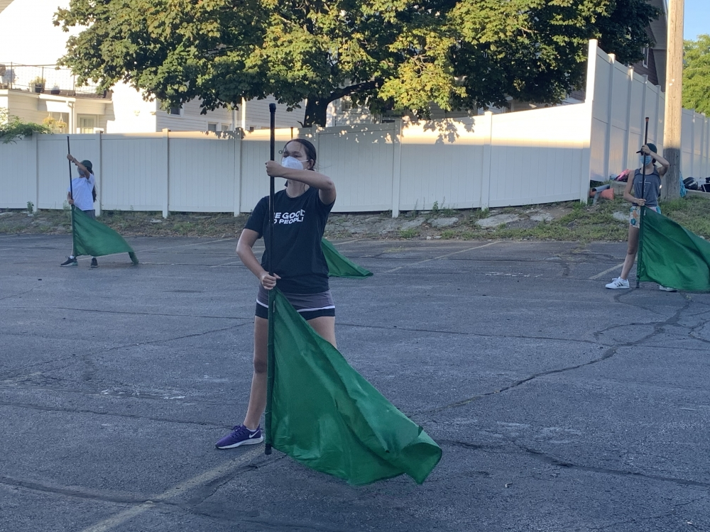 St. Joseph senior Grace Davis practices color guard