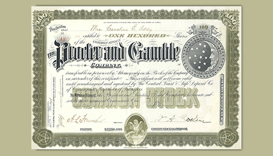 A stock certificate that says Procter and Gamble in ornate lettering.