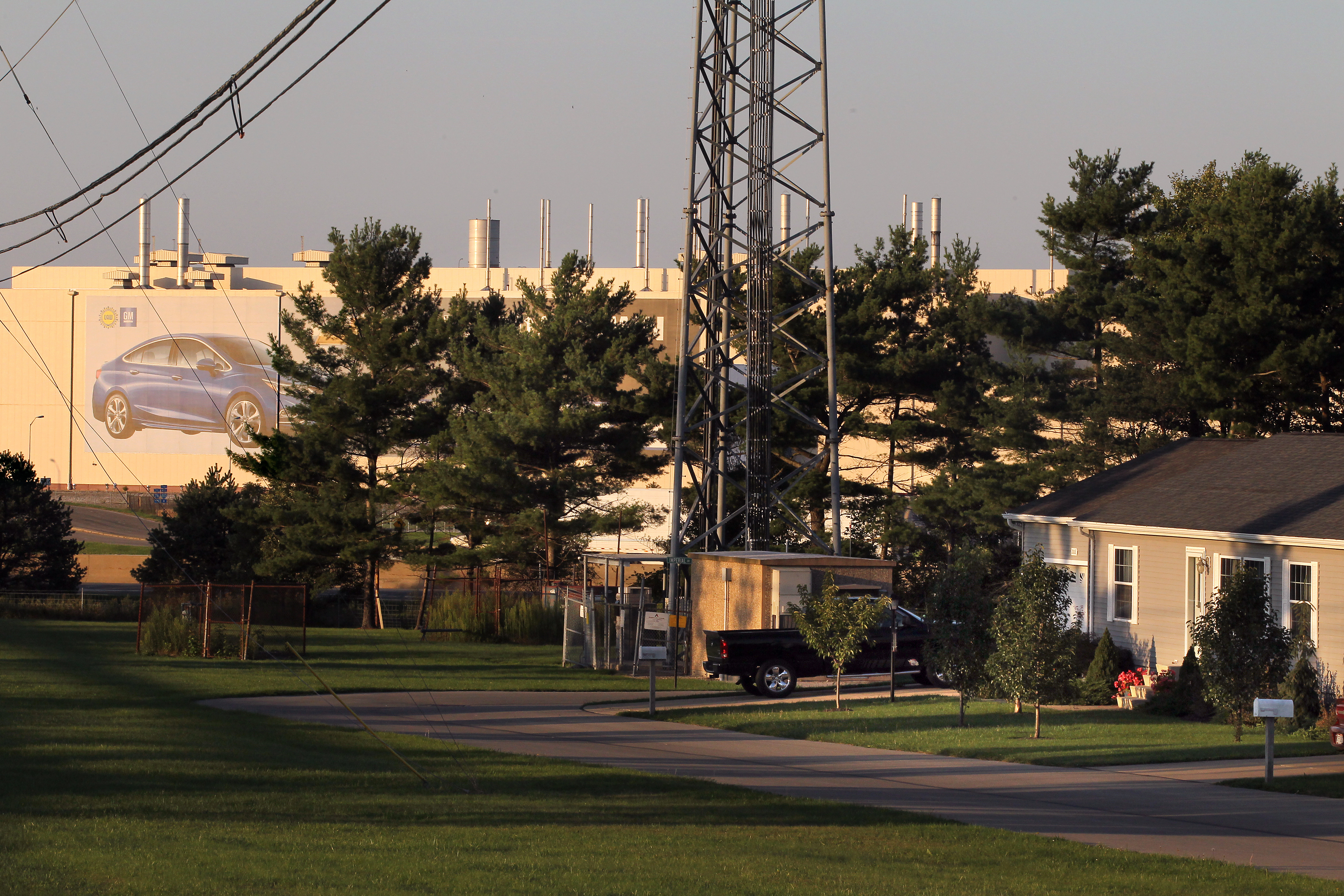 The GM plant just beyond a mobile home community in Lordstown, Ohio
