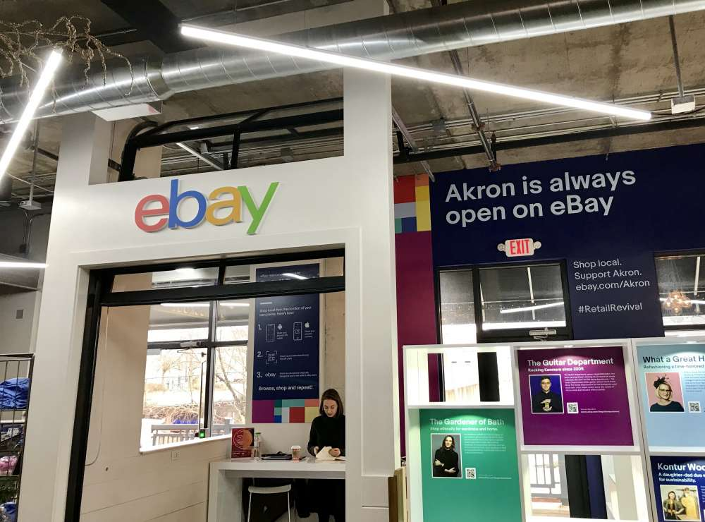 ebay, the online retailer, opened a brick and mortar shop in Akron's Northside Marketplace.