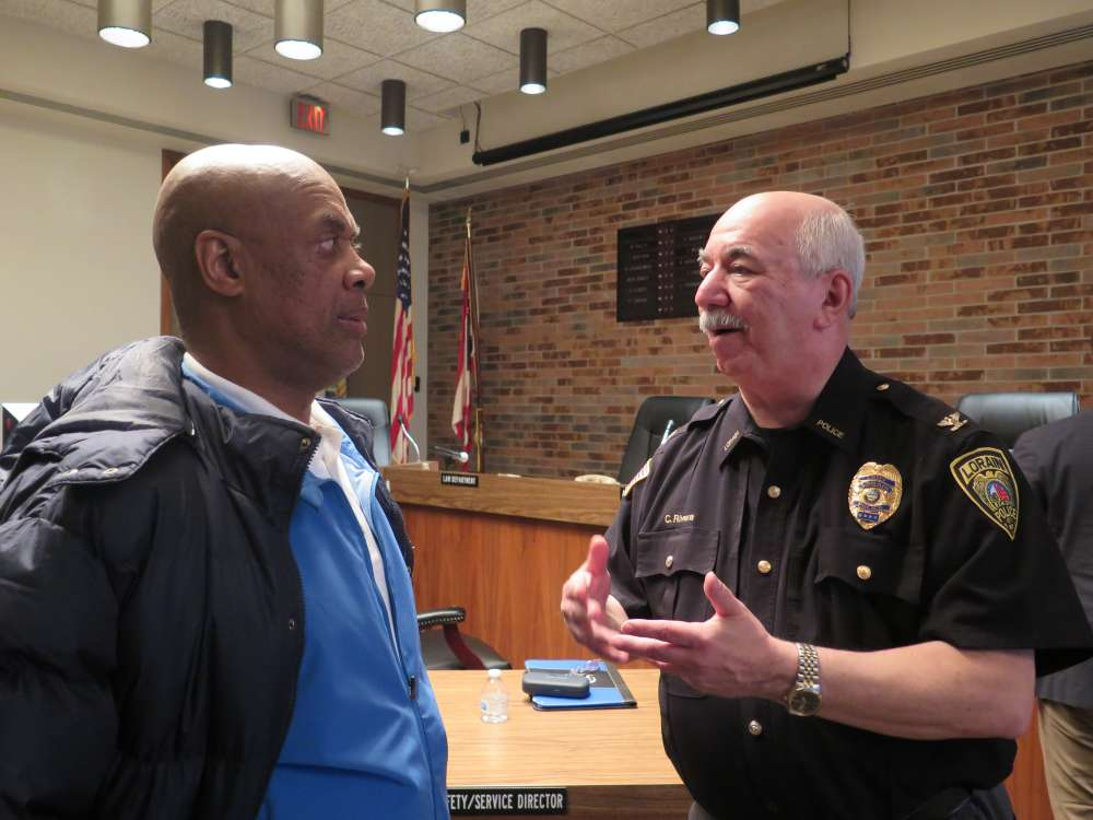 Darryl Tucker, managing editor of the Morning Journal speaks with Lorain Police Chief Cel Rivera.