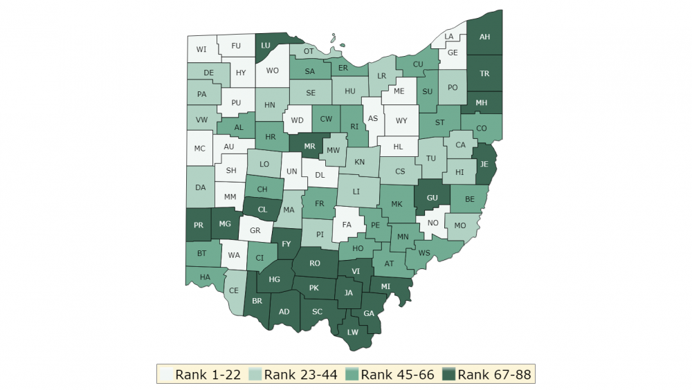 Robert Wood Johnson Foundation Ohio Health Outcomes map