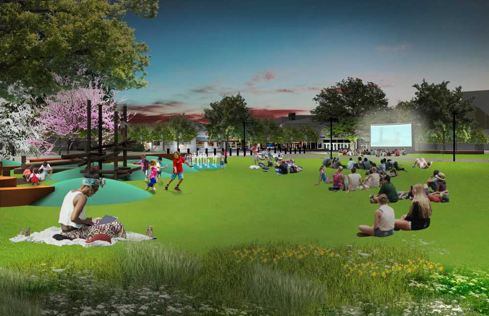 Architectural rendering of the great lawn with play area.